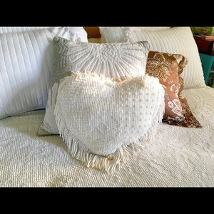 Vintage Chenille Heart shaped pillow